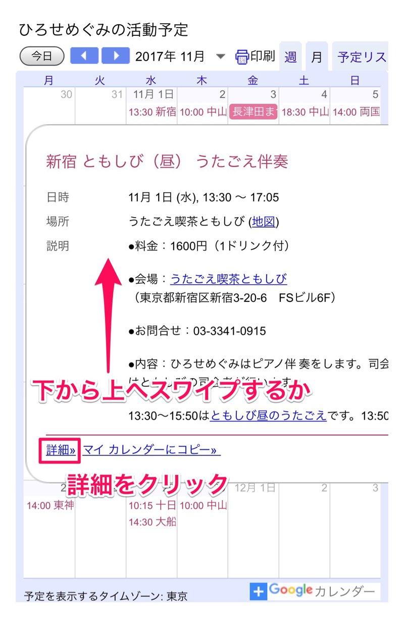 ひろせめぐみの活動予定カレンダー詳細