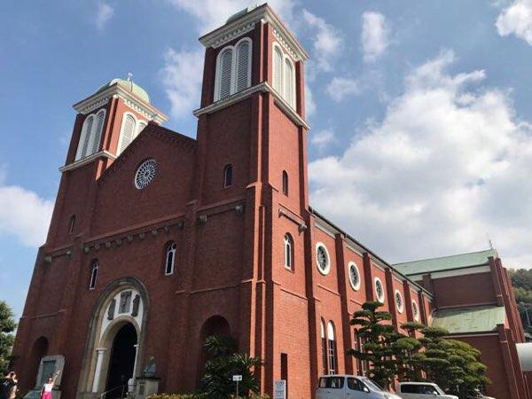 浦上天主堂(浦上教会)を斜めから見たところ